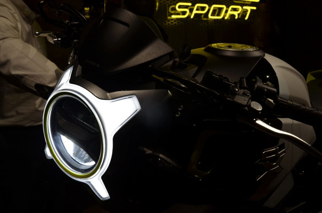 A view of the unique headlight on the all-new CFMoto 700 CL-X Sport Variant, soon to be made available in Australia and the Central and Eastern Hemispheres.