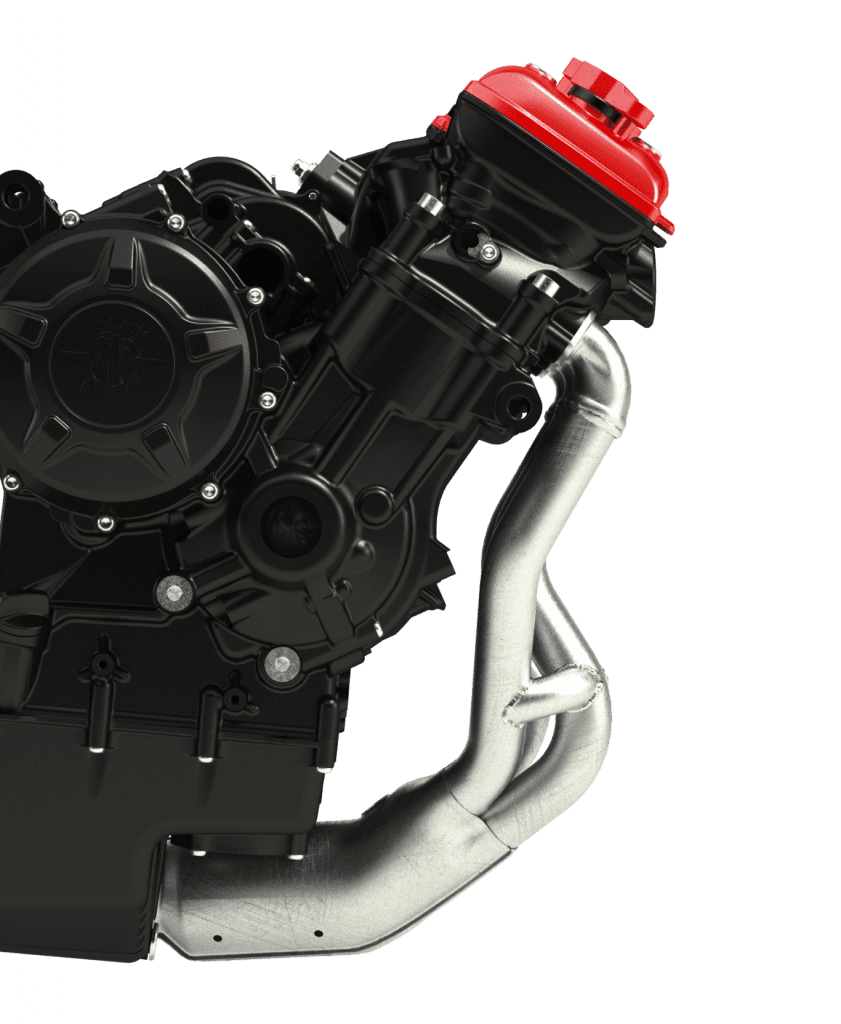 A view fo the 800cc triple housed in the all-new 2022 MV Agusta F3 RR