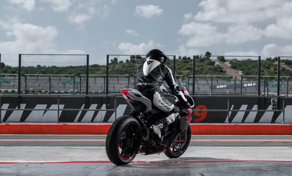 A view of a rider getting ready to try out the all-new 2022 MV Agusta F3 RR on the track.