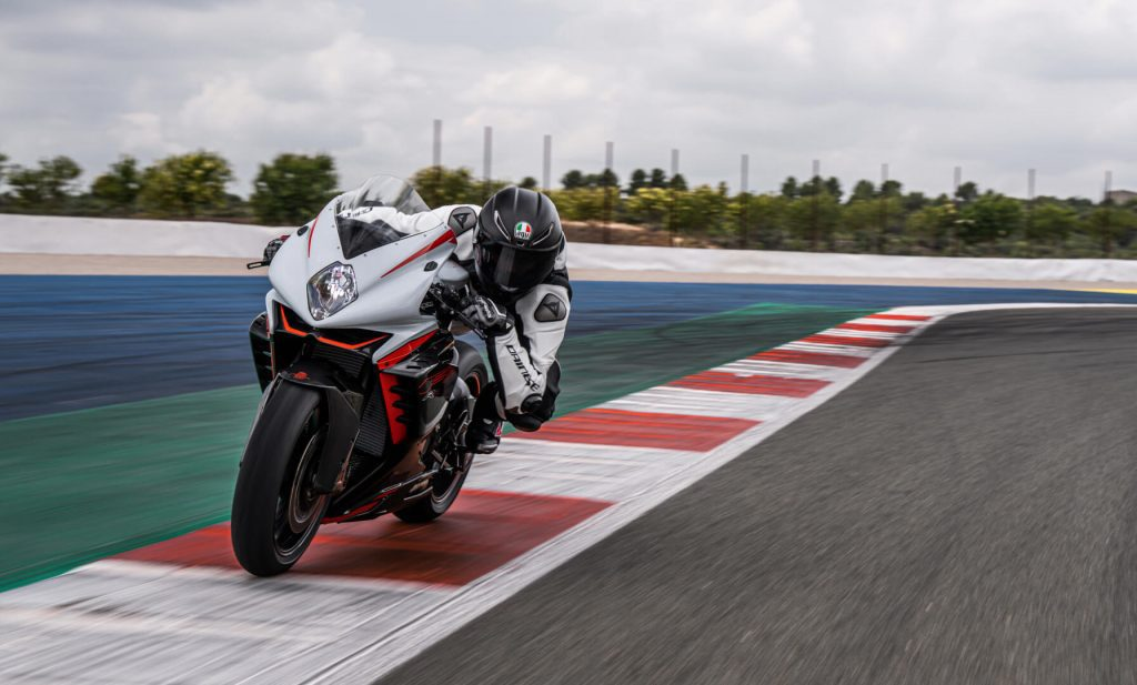 A rider trying out the all-new 2022 MV Agusta F3 RR on the track