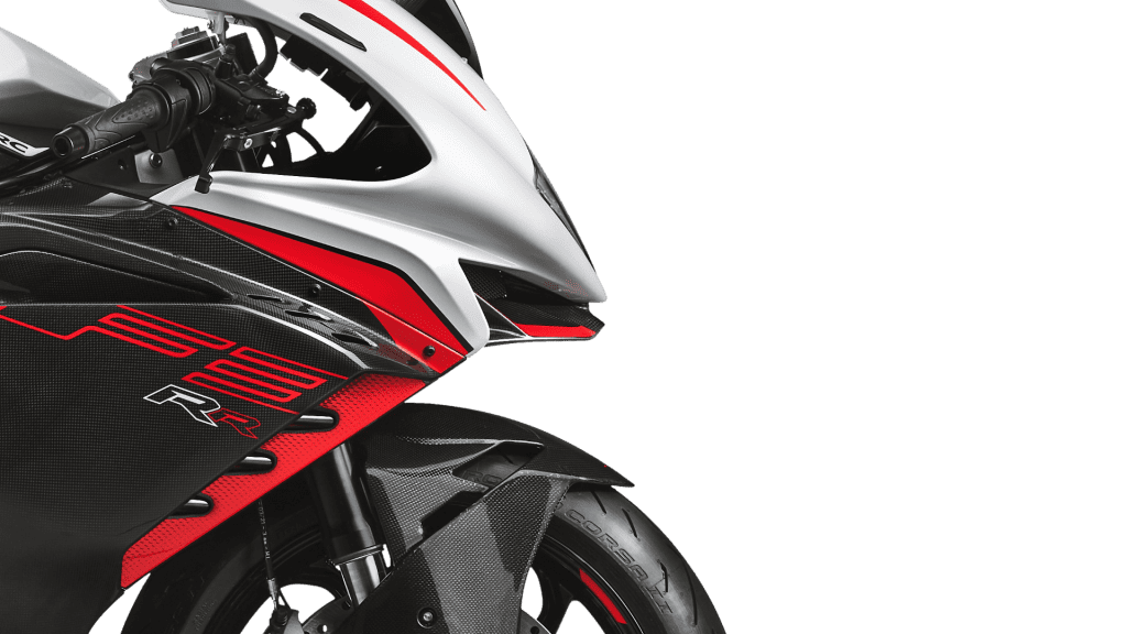 A close-up of the side of the all-new 2022 MV Agusta F3 RR