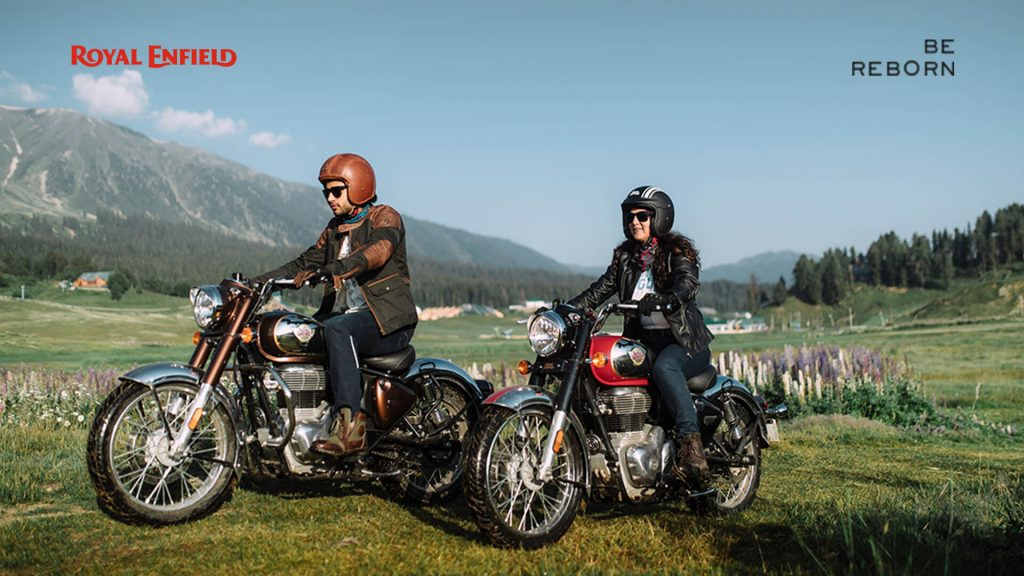 A view of two riders enjoying the new 2021 Classic Roll Enfield