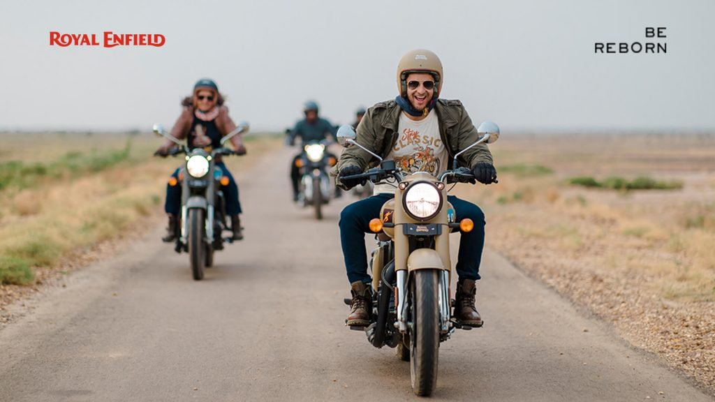 A view of a handful of riders enjoying the new 2021 Classic Royal Enfield