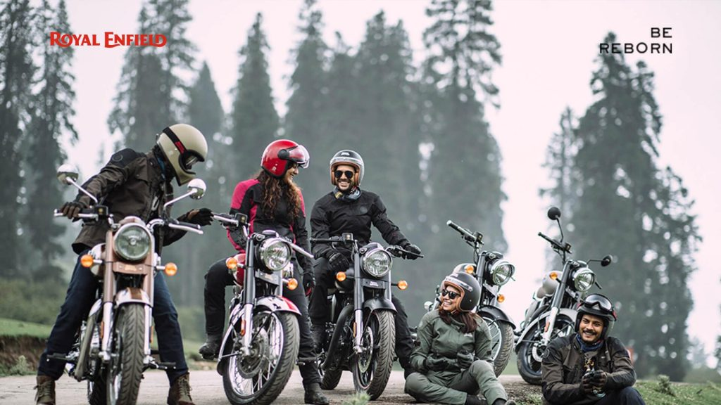 A group of riders trying out the all-new 2021 Classic 350 from Royal Enfield