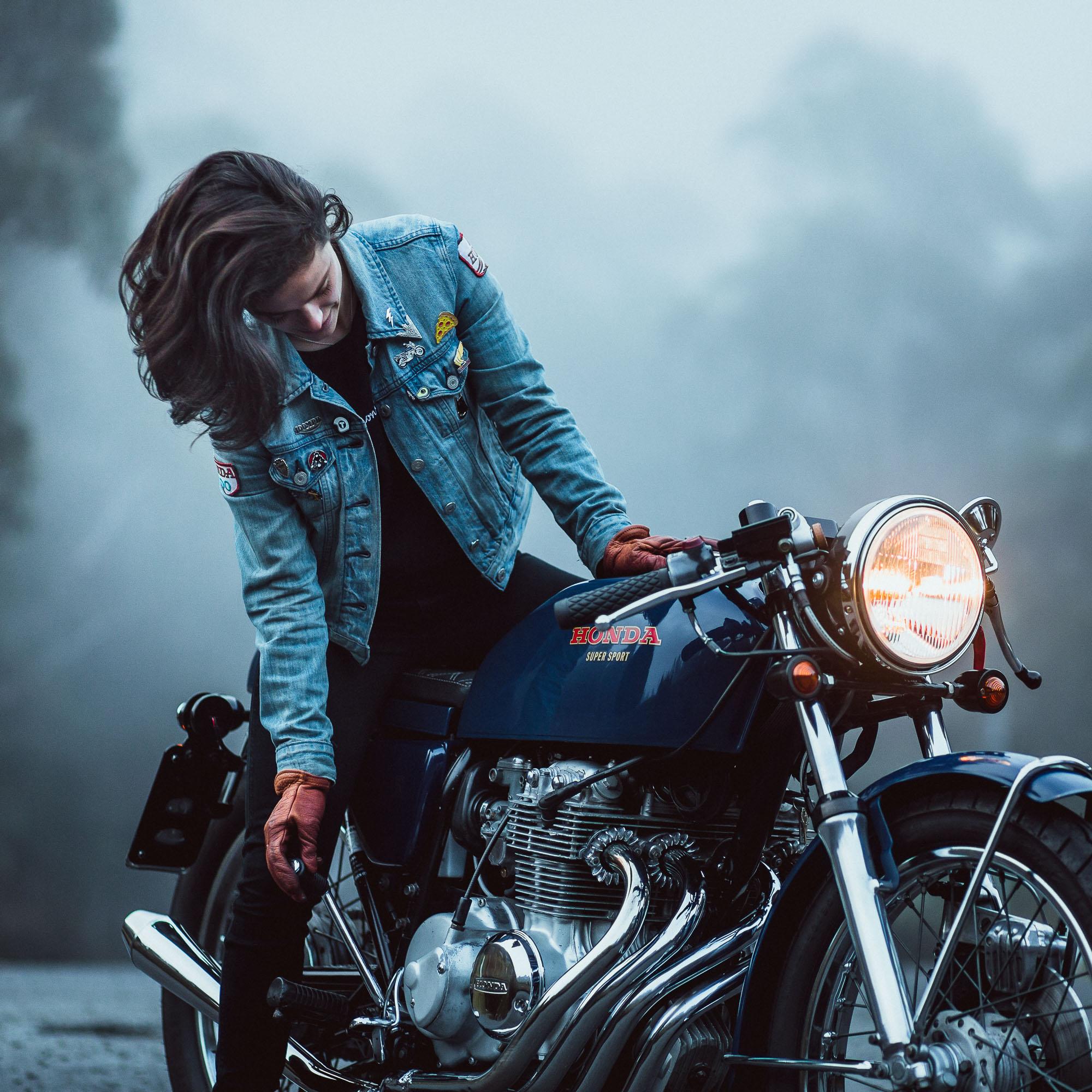 Katie Abdilla in Tasmania seated on her Honda CB400 Four Motorcycle