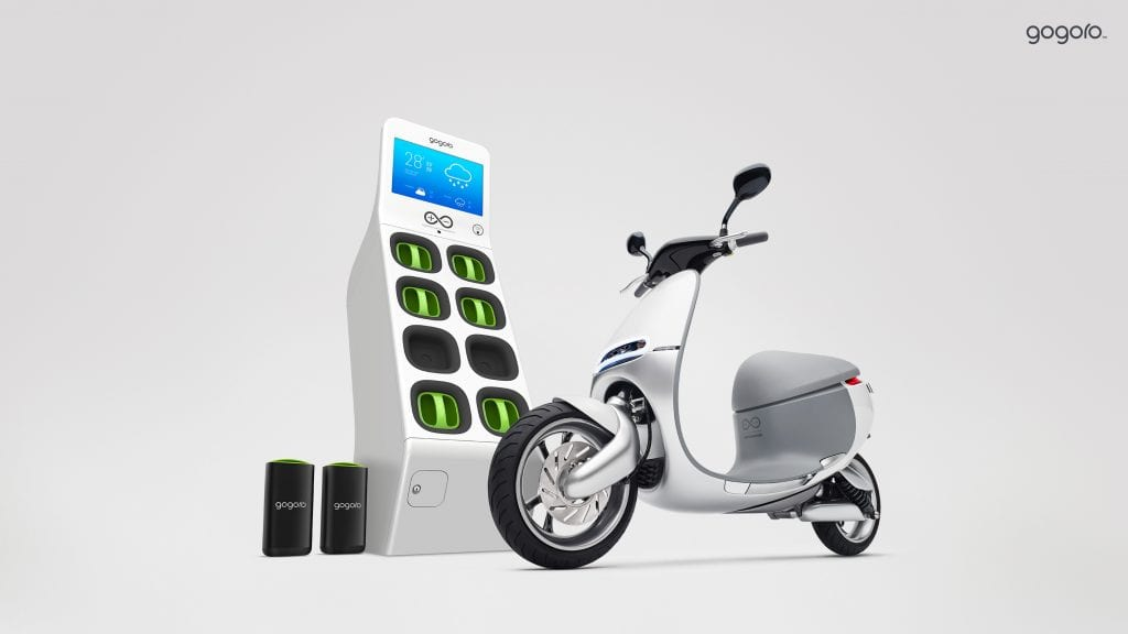 An image of a scooter nearGogoro's battery swapping network