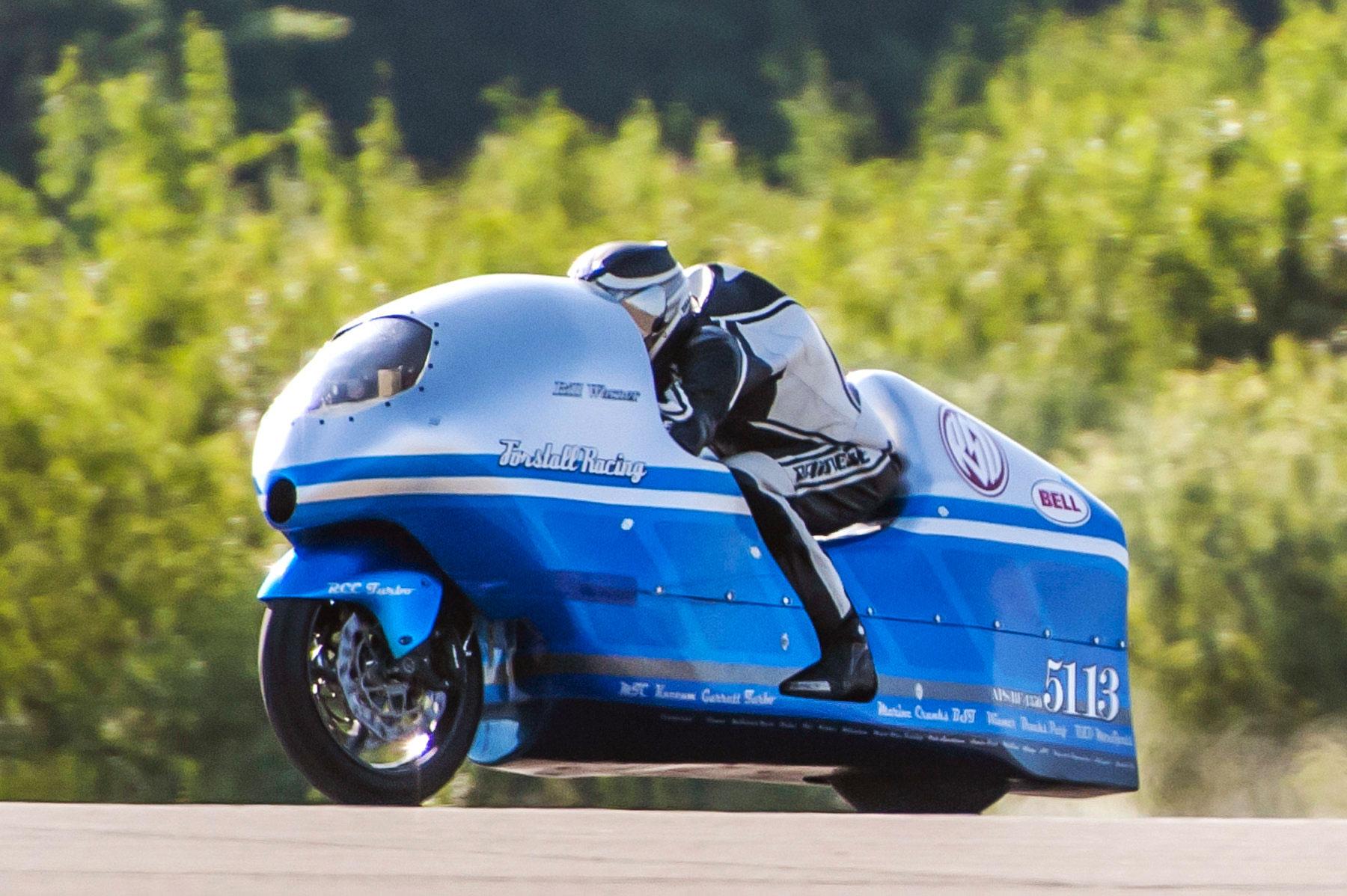 Bill Warner and his 1000 hp Suzuki Hayabusa on a runway speed strip