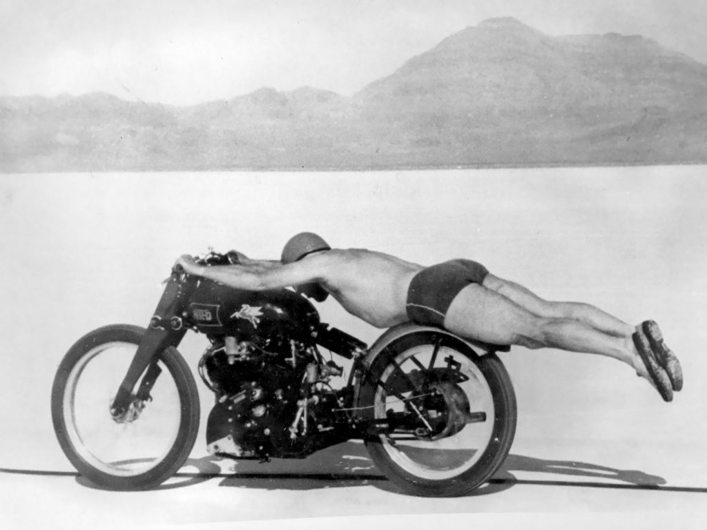 Rollie Free breaking land speed record while laying on Vincent Black Shadow in only trunks and sneakers